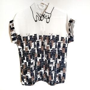 Cat Kitty Theme Button Front Blouse Cat Collar L